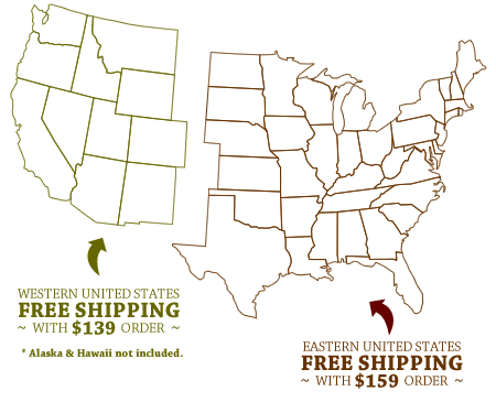 Map of United States illustrating shipping offers and terms.
